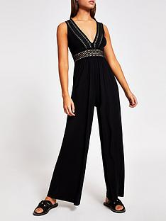 river-island-elastic-plunge-beach-jumpsuit-black