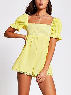 river-island-shirred-puff-sleeve-beach-playsuit-yellow