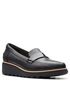 clarks-sharon-gracie-low-wedge-shoe-black