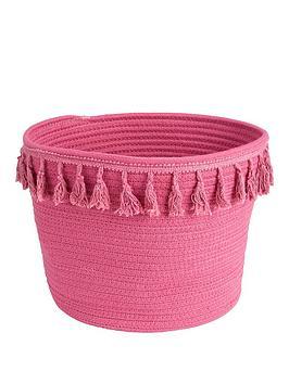 pink-cotton-storage-basket-with-tassels