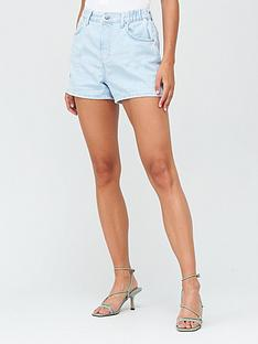 v-by-very-paper-bag-waist-slouch-denim-short-light-wash