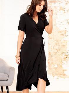 pour-moi-slinky-jersey-frill-detail-midi-wrap-dress-black