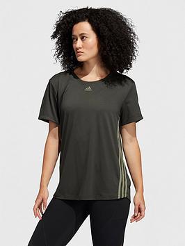 adidas-3-stripe-training-t-shirt-khaki