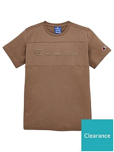 champion-crew-neck-faded-logo-t-shirt-khaki