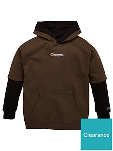champion-hooded-faded-logo-sweatshirt-khaki