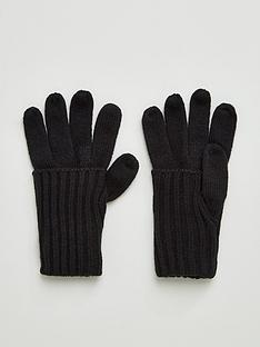 v-by-very-knitted-fold-over-cuff-glove-black