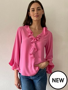 wallis-double-ruffle-blouse-pink