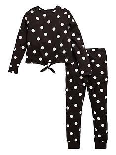 v-by-very-girls-tie-front-spot-pj-set-black