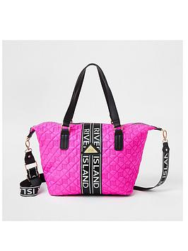 river-island-girls-quilted-carryall-pink