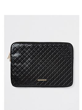 river-island-girls-patent-embossed-laptop-case-black
