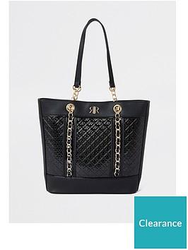 river-island-girls-patent-jacquard-shopper-bag-black