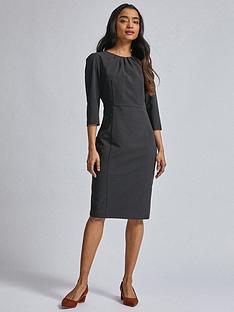 dorothy-perkins-petite-34-sleeve-dress-black
