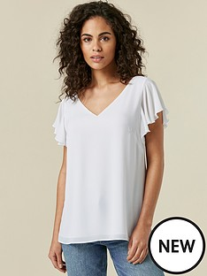 wallis-frill-sleeve-cami-top-ivory