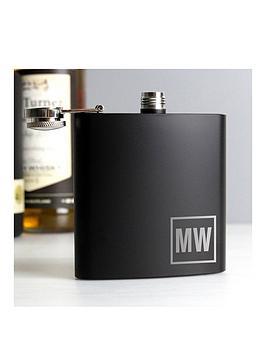personalised-black-monogram-hip-flask
