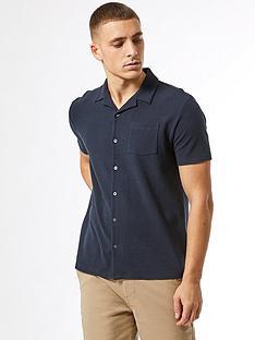 burton-menswear-london-short-sleeve-waffle-revere-shirt-navy