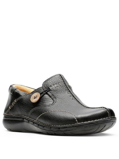 clarks-un-loop-flat-leather-shoe-black