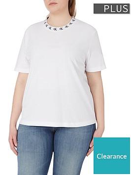 calvin-klein-jeans-plus-sizenbsplogo-trim-short-sleeve-t-shirt-white