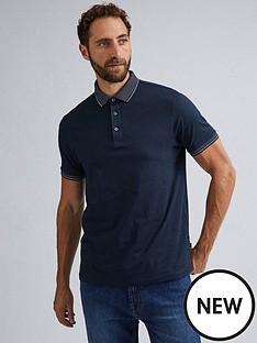 burton-menswear-london-short-sleeve-jacquard-polo-shirtnbsp-nbsp-navy