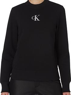 calvin-klein-jeans-silvernbspck-cut-out-back-crew-neck-black