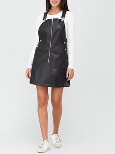 calvin-klein-jeans-faux-leather-dungaree-dress-black