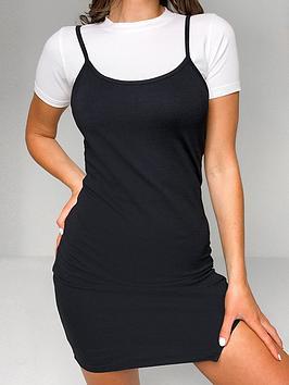 missguided-missguided-2-innbsp1-tee-split-cami-dress-black