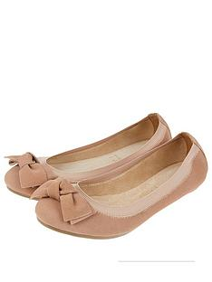 accessorize-elasticated-suede-bow-ballerina-flatsnbsp--nude