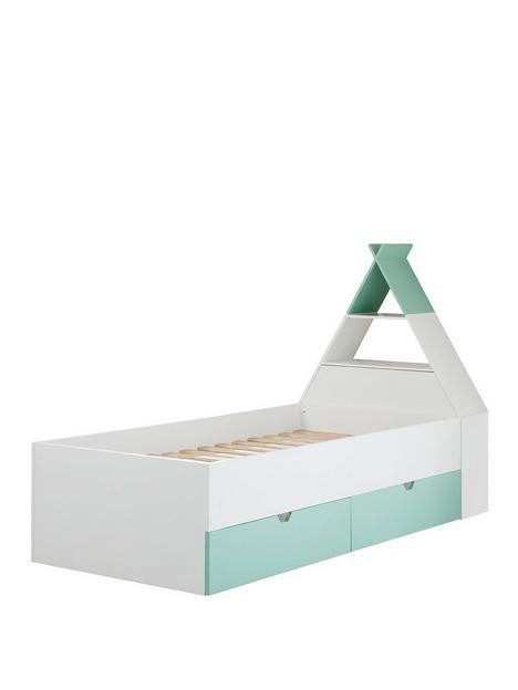 lloyd-pascal-teepee-bed-with-storage-headboard-greenwhite