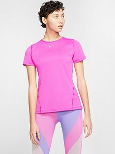 nike-training-pro-365-essential-short-sleeved-meshnbsptop-pink