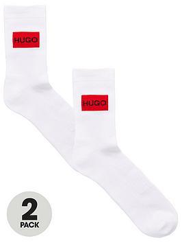 hugo-rib-label-logo-2-pack-sports-socks-white
