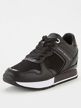 tommy-hilfiger-dressy-wedge-mat-mix-sneaker-black