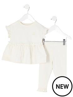 river-island-mini-mini-girls-peplum-frill-t-shirt-and-leggings-set-beige