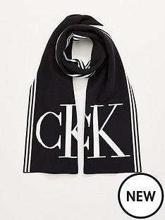 calvin-klein-logo-scarf-black