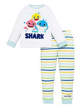 baby-shark-unisex-baby-shark-long-sleeve-pjs-white