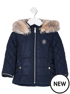 river-island-mini-mini-girls-padded-faux-fur-hood-coat--nbspnavy