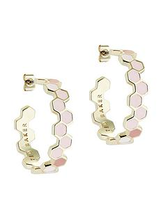 ted-baker-heptele-honey-candy-enamel-hoop-earrings-gold