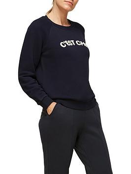 whistles-cest-chic-logo-sweatshirt-navy
