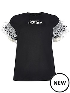ri-plus-layered-frill-spot-mix-tee-black