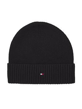 tommy-hilfiger-pima-cotton-knitted-beanie-hat-black