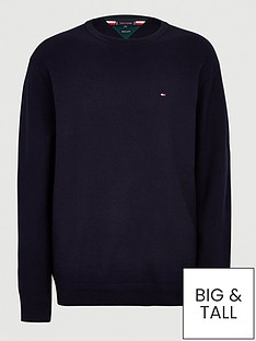 tommy-hilfiger-big-amp-tallnbsphoneycomb-knitted-jumper-navy