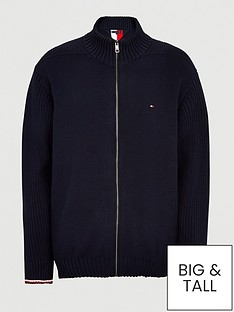 tommy-hilfiger-big-amp-tallnbspbold-structure-zip-thru-knit-navy