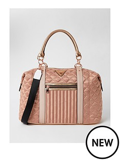 river-island-zip-front-quilted-nylon-gym-holdall-rose-gold
