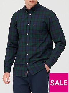 tommy-hilfiger-flex-black-watch-check-shirt-green-navy