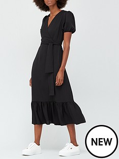 v-by-very-wrap-short-sleeve-midi-dress-black