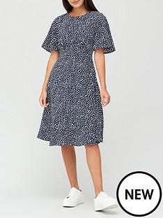 v-by-very-round-neck-angel-sleeve-midi-dress-polka-dot