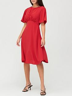 v-by-very-round-neck-angel-sleeve-midi-dress-red