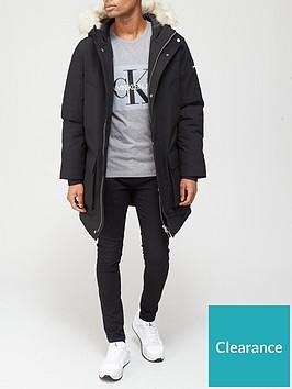 calvin-klein-premium-canvas-fur-hood-parka-black