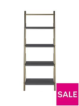 cosmoliving-by-cosmopolitan-nova-ladder-bookcase-graphite-greygold
