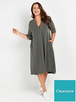 evans-short-sleeve-dress-khaki