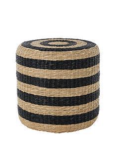 premier-housewares-ashby-seagrass-pouffe--naturalblack