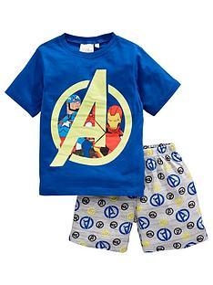the-avengers-boys-marvelnbspshortie-pjs-blue